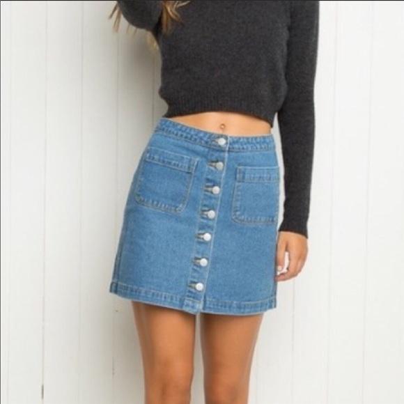50b5e90c6 Brandy Melville Skirts   Button Front Denim Skirt   Poshmark